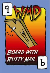 board with rusty nail